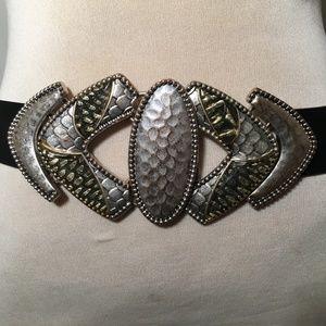 Chico's Silver Black Leather Belt Adjustable